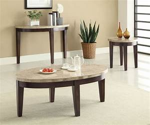 701888 3pc coffee table set by coaster w cream marble top for Cream coffee table set