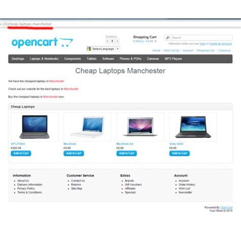 Opencart Landing Pages Generator
