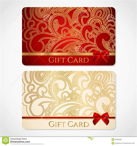 red  gold gift card  floral pattern stock