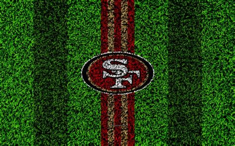 Download wallpapers San Francisco 49ers, logo, 4k, grass ...