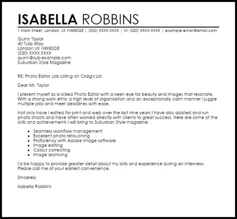 cover letter to the editor photo editor cover letter sle cover letter templates cover
