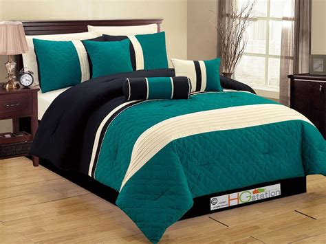 7 Pc Quilted Geometric Medallion Comforter Set Queen Teal