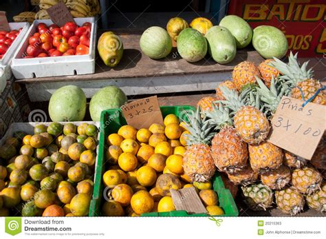 Fruits At Fruit Stand, Panama, Central America Stock