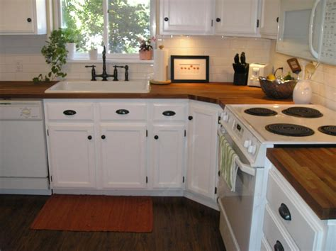 Butcher Block Counter Tops With White Cabinets A