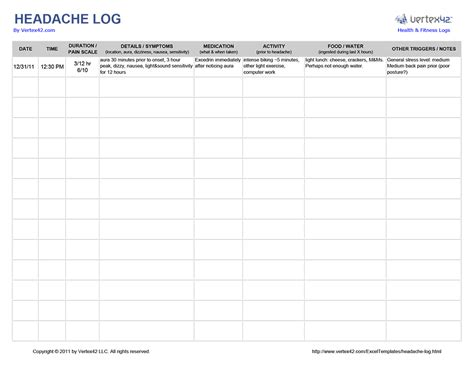 printable headache log   vertexcom