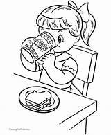 Coloring Printable Colouring Children Eating Breakfast Snacks Kid Sheets Clipart Raisingourkids Animal Makes Library Voeding Kleurplaten Clip Apple Popular Printing sketch template