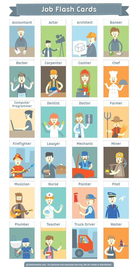 Printable Job Flash Cards