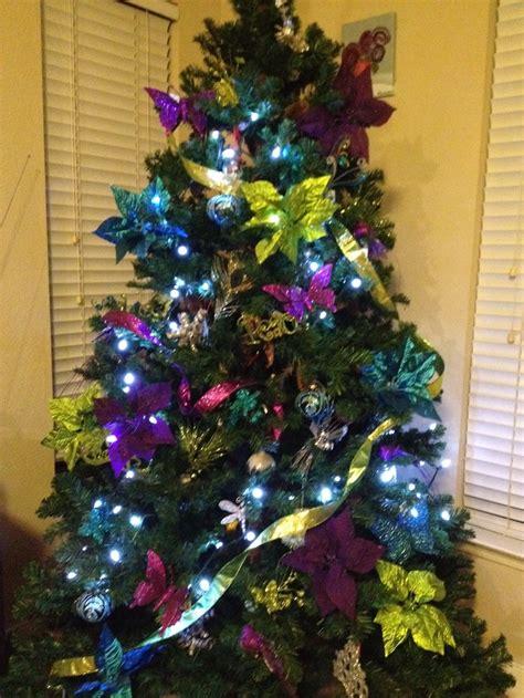 peacock blue purple lime green christmas tree seasons