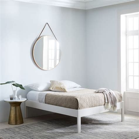 simple bed frame tall white west elm