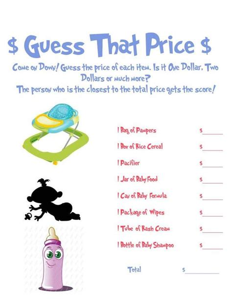 guess  price baby shower game