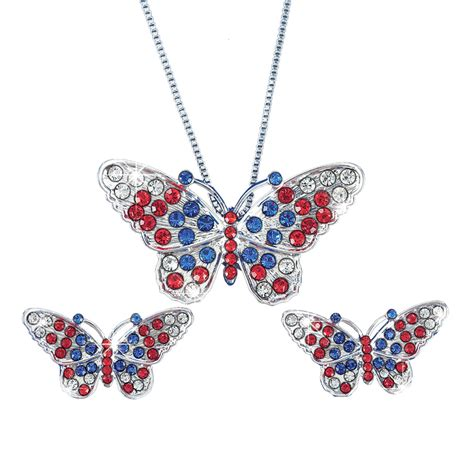 womens patriotic butterfly necklace earrings jewelry