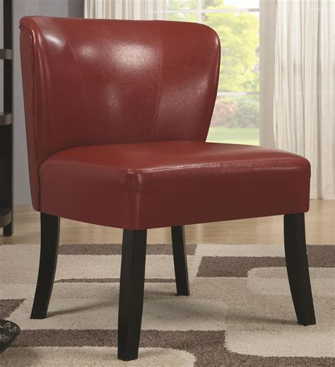 velvel armless leather accent chair with oak wooden