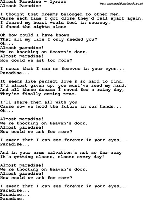 Testo Paradise Song Lyrics For Almost Paradise