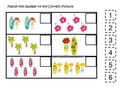 at the beach themed match the number activity preschool pre k kindergarten math and counti