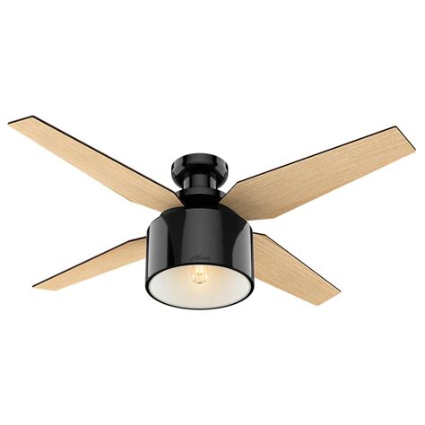 low hanging ceiling fan hunter cranbrook 52 in led low profile indoor gloss black
