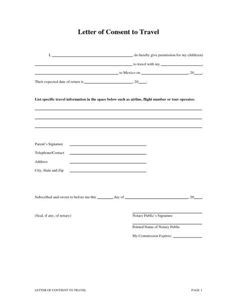 Download Bridge Child Template by Notarized Letter Template For Child Travel Free Download