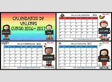 Calendario de VALORES y planificador semanal 2016 2017