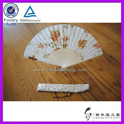 how to make a hand fan with fabric leaf pattern bamboo folding fabric hand fan promotion hand