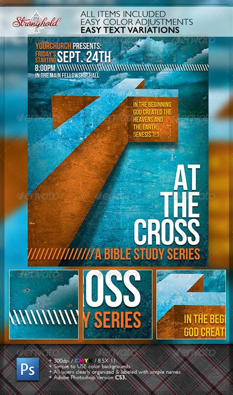 cross bible study church flyer template  getstronghold graphicriver
