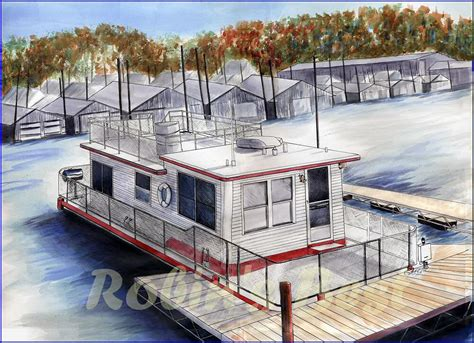 Living On A Boat In Minnesota by Quot Colored Pen And Ink Drawing Of A Houseboat Docked In A