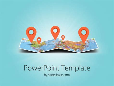 powerpoint map templates 3d folded map powerpoint template slidesbase