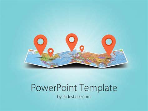folded map powerpoint template slidesbase