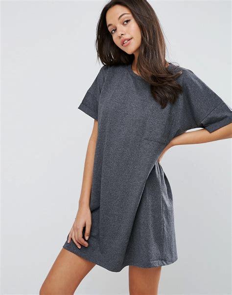 t shirt dresses asos asos casual oversize t shirt dress with pocket at asos