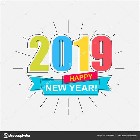 2019 Happy New Year Colorful Outline Banner New Year