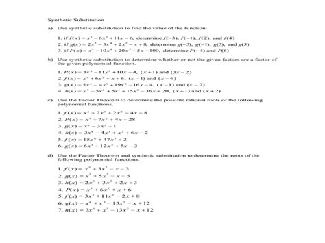 and synthetic division review worksheet