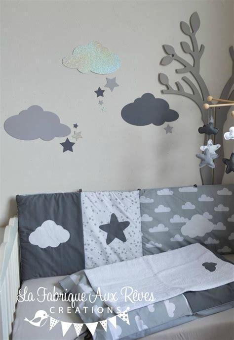 stickers nuages etoiles gris fonce argent gris clair decoration chambre bebe fille garcon
