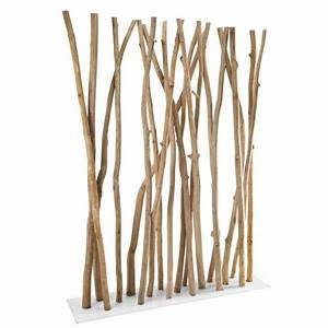 paravent en metal blanc et branches de teck sperone With meuble entree maison du monde 7 decoration murale design decoration pier import