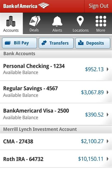phone number for bank of america bank of america android app adds paypal style money