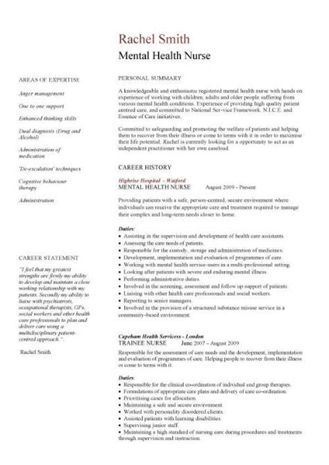 I viewed several sample cvs ans they all had this section for a student who has relativvely little job experience. Mental health nurse CV sample, career history, resume ...