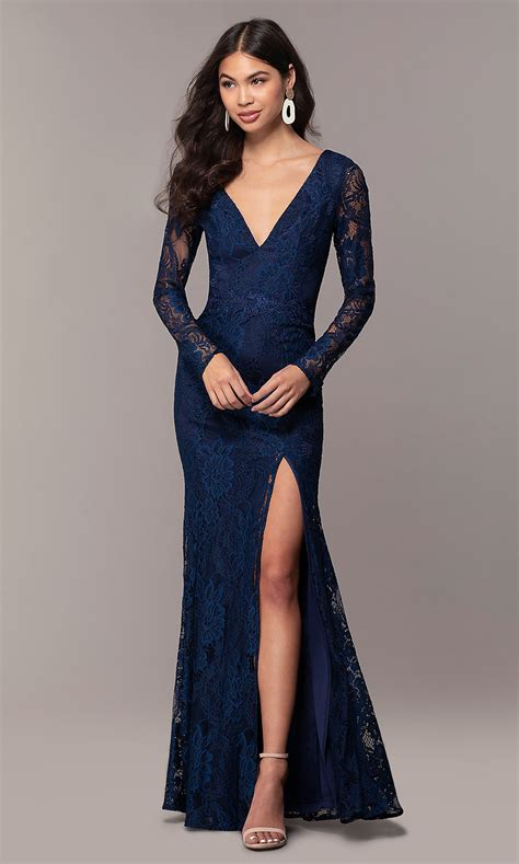 V-Neck Long-Sleeve Lace Formal Dress by Simply