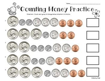 spring counting money practice worksheet by 4 little baers tpt