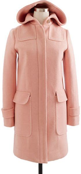 jcrew stadiumcloth duffle coat  pink light nectar lyst
