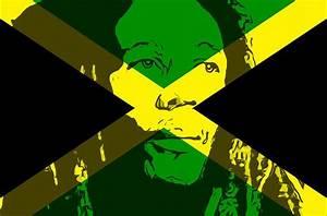 Bob Marley On Jamaican Flag Mixed Media by Dan Sproul