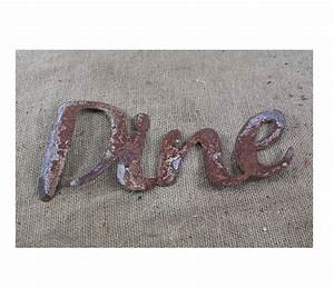 thin metal dine rustic metal letters wall art With thin metal letters