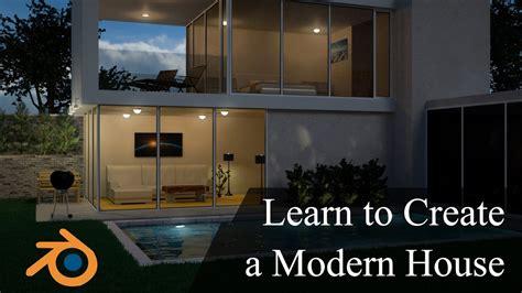 create a house create design a modern 3d house in blender promo