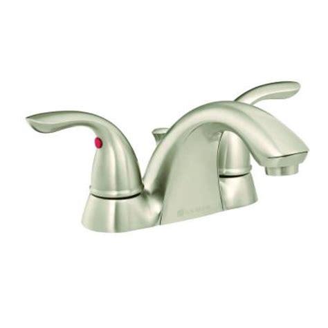 glacier bay builders 4 in centerset 2 handle low arc bathroom faucet in brushed nickel