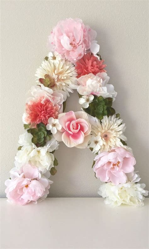 custom letter flower letter floral letter baby shower decor birthday party decor flower