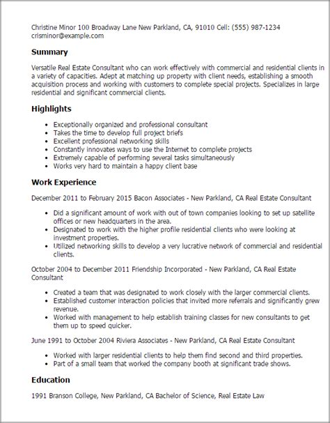 Real Estate Manager Resume Template by Professional Real Estate Consultant Templates To Showcase Your Talent Myperfectresume