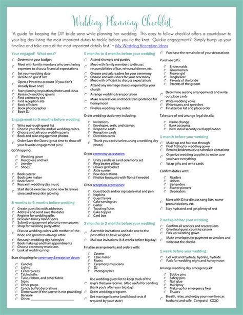 printable wedding planning checklist  diy brides diy