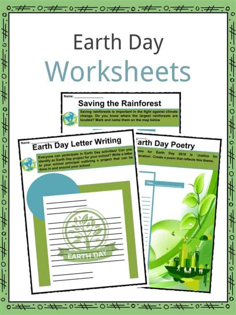 earth day facts worksheets climate change information