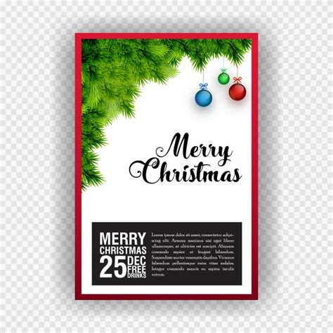 Christmas party invitation card design elements are grass
