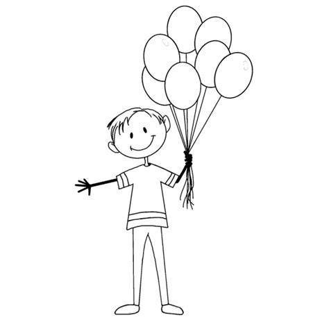 disegno stilizzato bambina con palloncino disegno di il ragazzo coi palloncini da colorare per