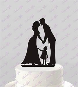 Wedding Cake Topper Silhouette Groom And Bride With Little ...
