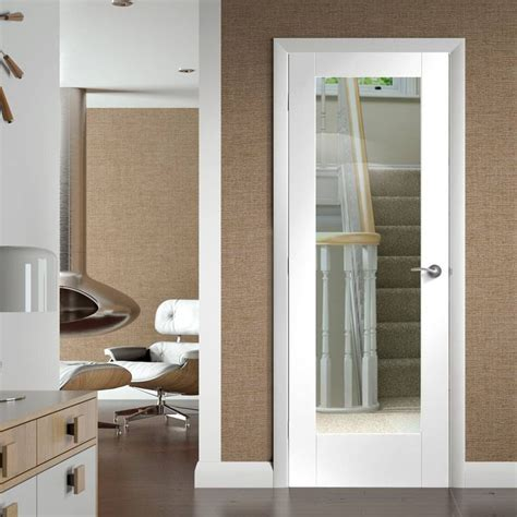 pattern  door clear glass white primed