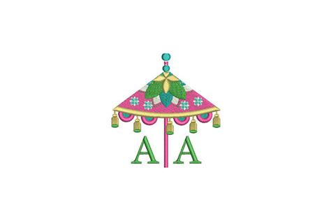 chinoiserie chic monogram tassel umbrella machine embroidery file design  hoop