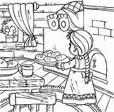 Coloring Pages Kitchen Utensils Baking Bread Bakery Table Dinner Printable Delicious Getcolorings Safety sketch template